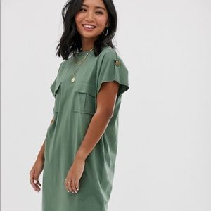 ASOS DESIGN Petite green utility t-shirt dress